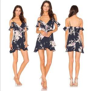 Majorelle Revolve NWT Floral Ruffle Dress Navy